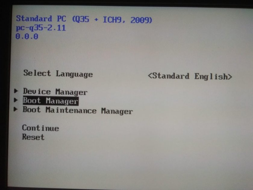 UEFI menu