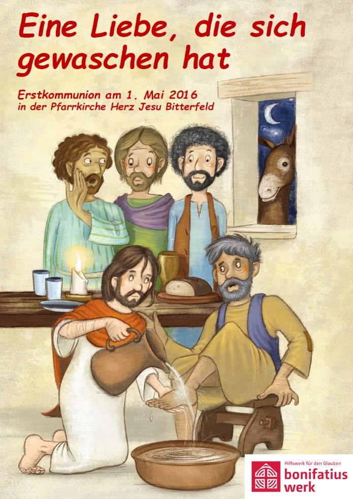 "Erstkommunion-Motiv 2016: ""Eine Liebe, die sich gewaschen hat"" unter Verwendung der Vorlage von Stephan Pricken, (c): Bonifatiuswerk der deutschen Katholiken, Quelle: http://www.bonifatiuswerk.de/erstkommunion-downloads/#c4245"