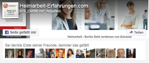 Facebook-Seite von Heimarbeit-Erfahrungen.com