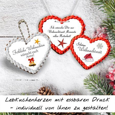 Lebkuchenherzen Weihnachtskollektion 8 bis 10 cm