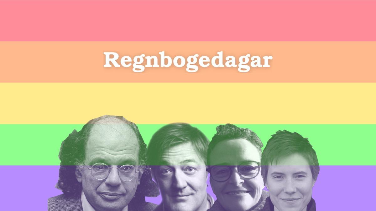 """Bakgrunnen er delvis hvit med rader av alle LGBTQ fargene. På bunnen av bildet i midten er det utklikk av Allen Ginsberg, Stephen Fry, Maren Sekkingstad og Kristin Fridtun fra venstre til høyre. I øvre halvdel er det en tekst som sier """"Regnbogedagar""""."""
