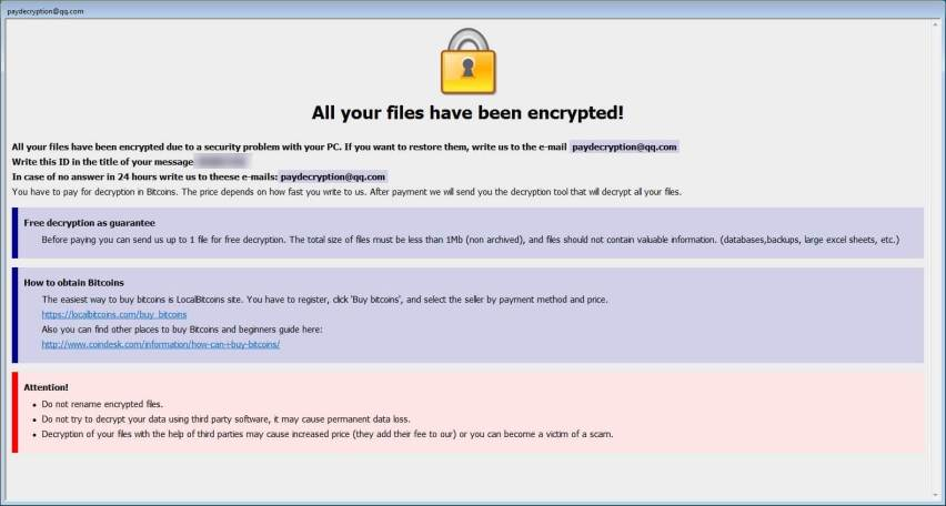 Dharma Ransomware ransom note
