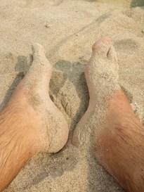 Pause vom Wellenreiten am Strand von Trassenheide.