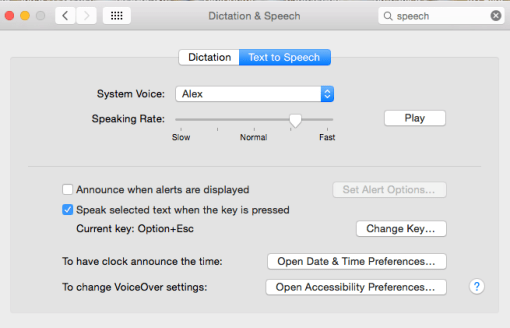 Apple text to speech system preferences
