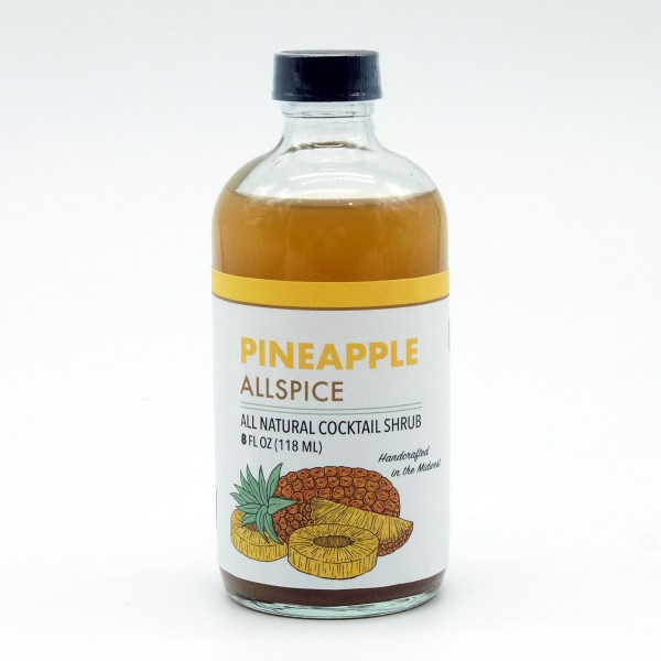 Pineapple allspice shrub bottle