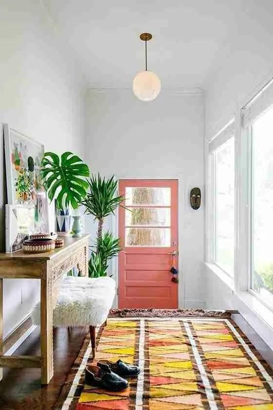 Entry door makeover -- salmon pink door
