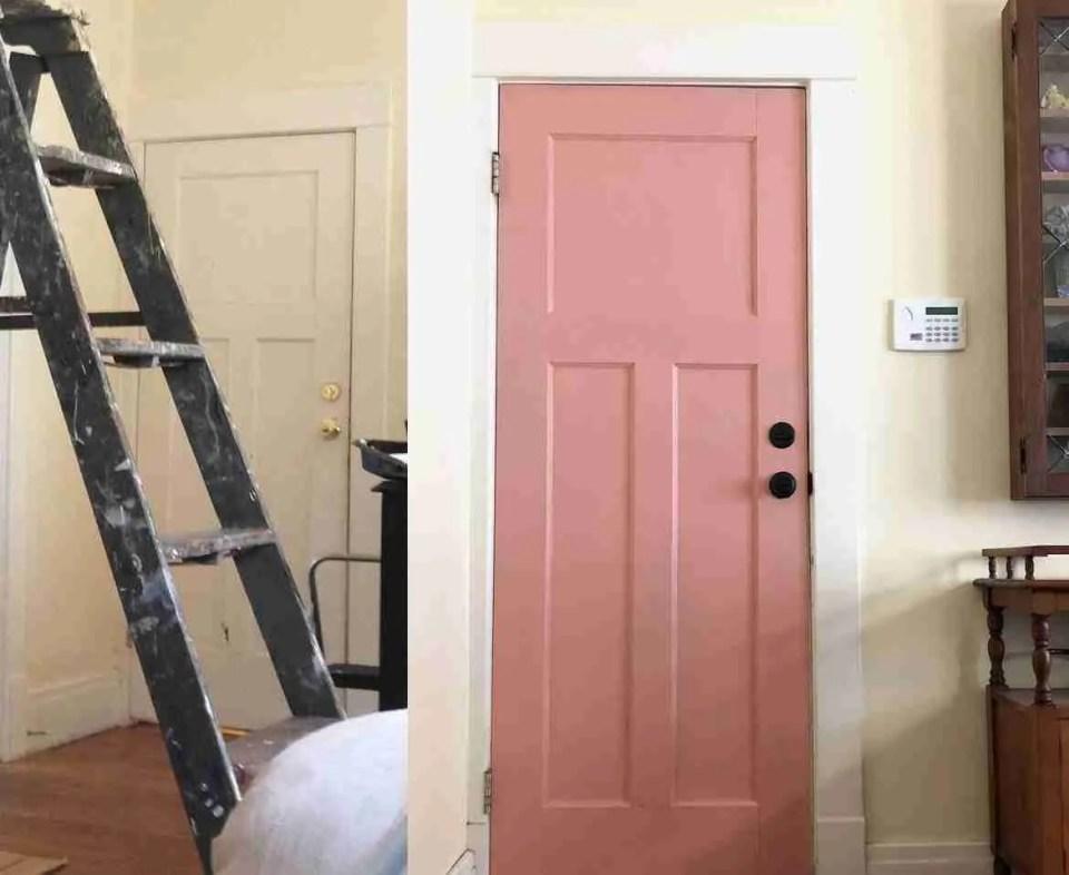 Pink front door makeover