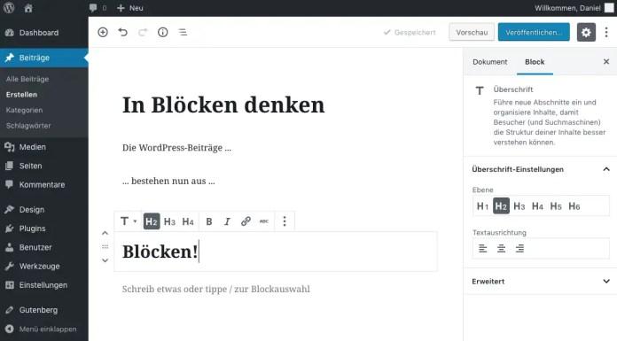 El nuevo editor de Gutenberg divide las contribuciones en muchos bloques.