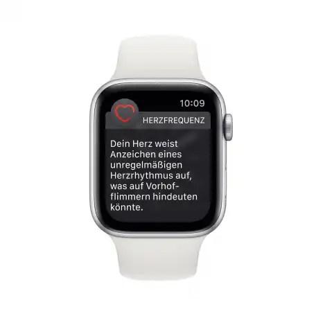 Auch einen Warnhinweis auf Unregelmäßigkeiten gibt die Uhr aus. Damit soll man dann zum Arzt gehen.