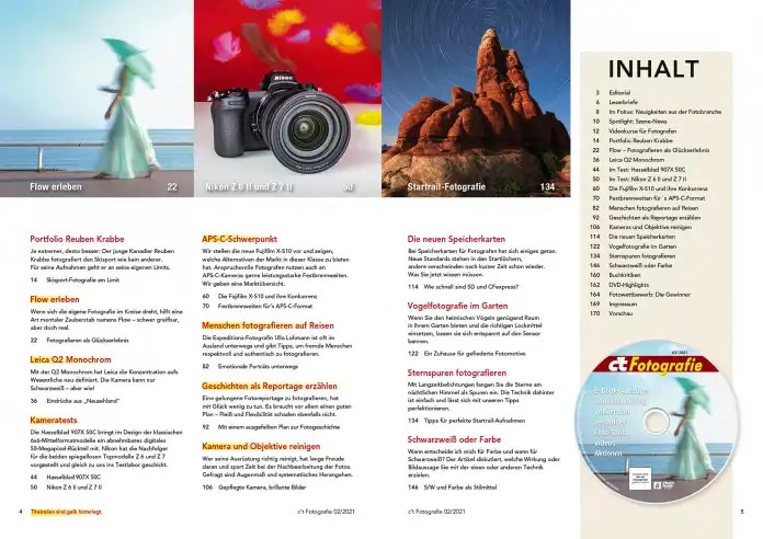 Table of contents c't photography 2/2021