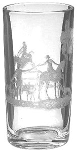 Heisey Flat tumbler with Fox Chase etching