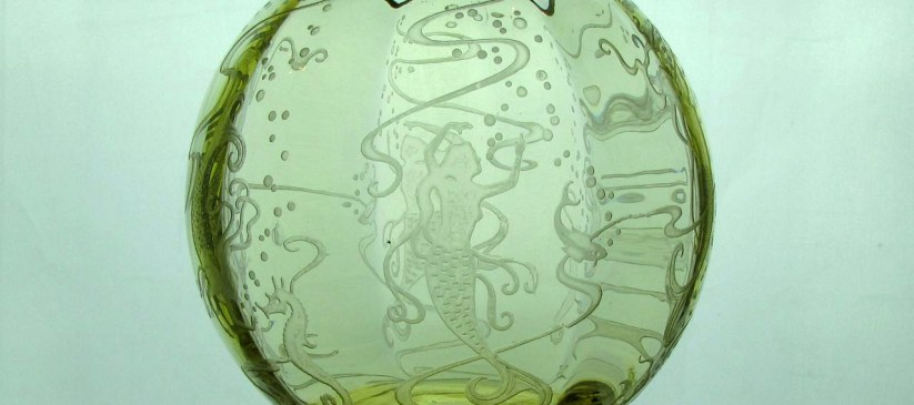 Heisey #4045 Ball Vase, Wide Optic, 7 inch, Sahara with #469 Mermaids etch