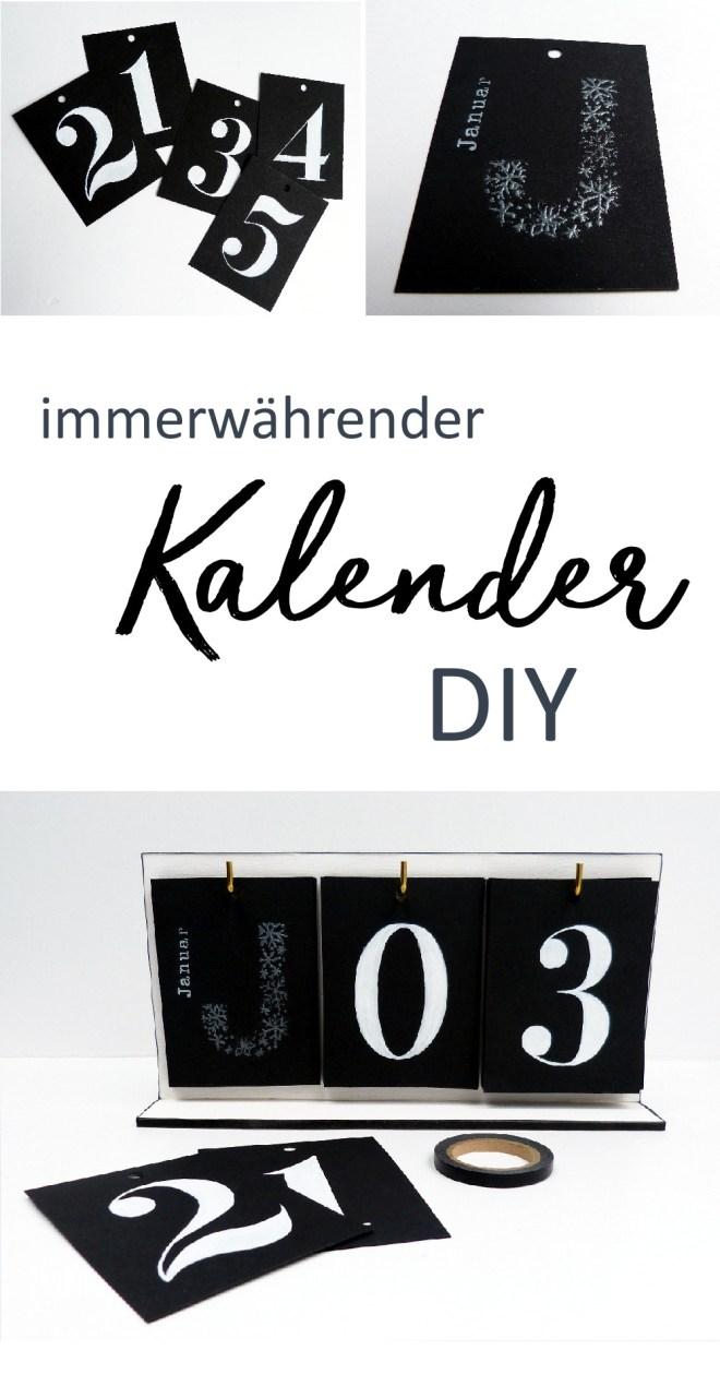 Immerwährender Kalender DIY. Anleitung für einen minimalistischen Kalender in schwarz-weiß.