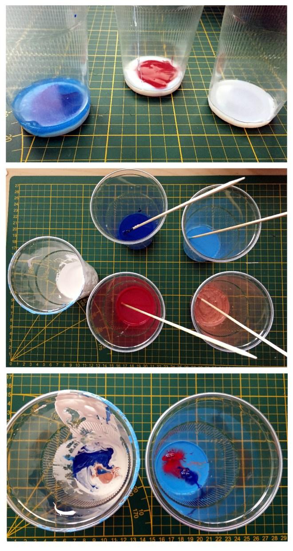 Acrylfarben fue Fliesstechnik und Dirty Pour anruehren