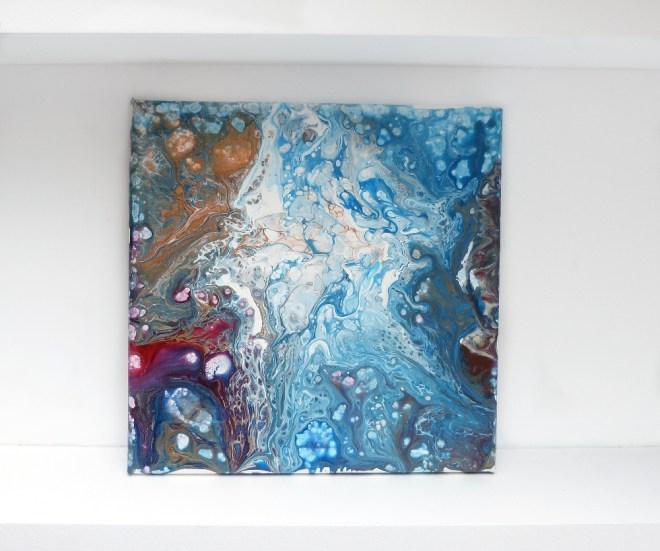 Abstraktes Acrylbild mit Fliesstechnik