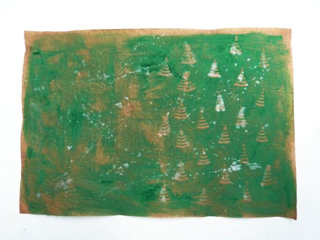 Kleisterpapier mit Tannenbaummuster