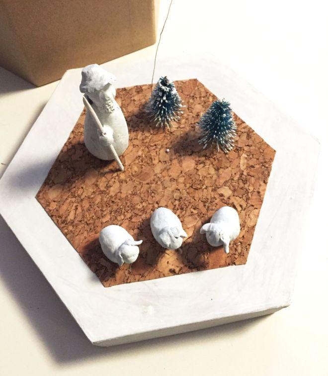 Weihnachtsfiguren auf Schachtel
