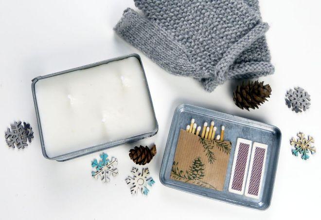 Kerzen Kit in Metallschachtel