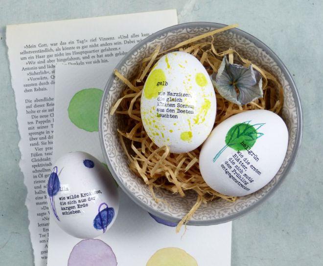 Ostereier mit Text und kleinen Gedichten