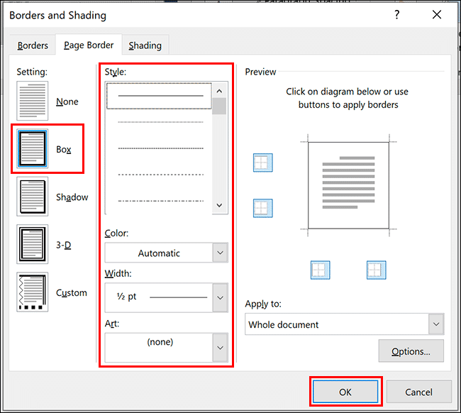 style border ms word