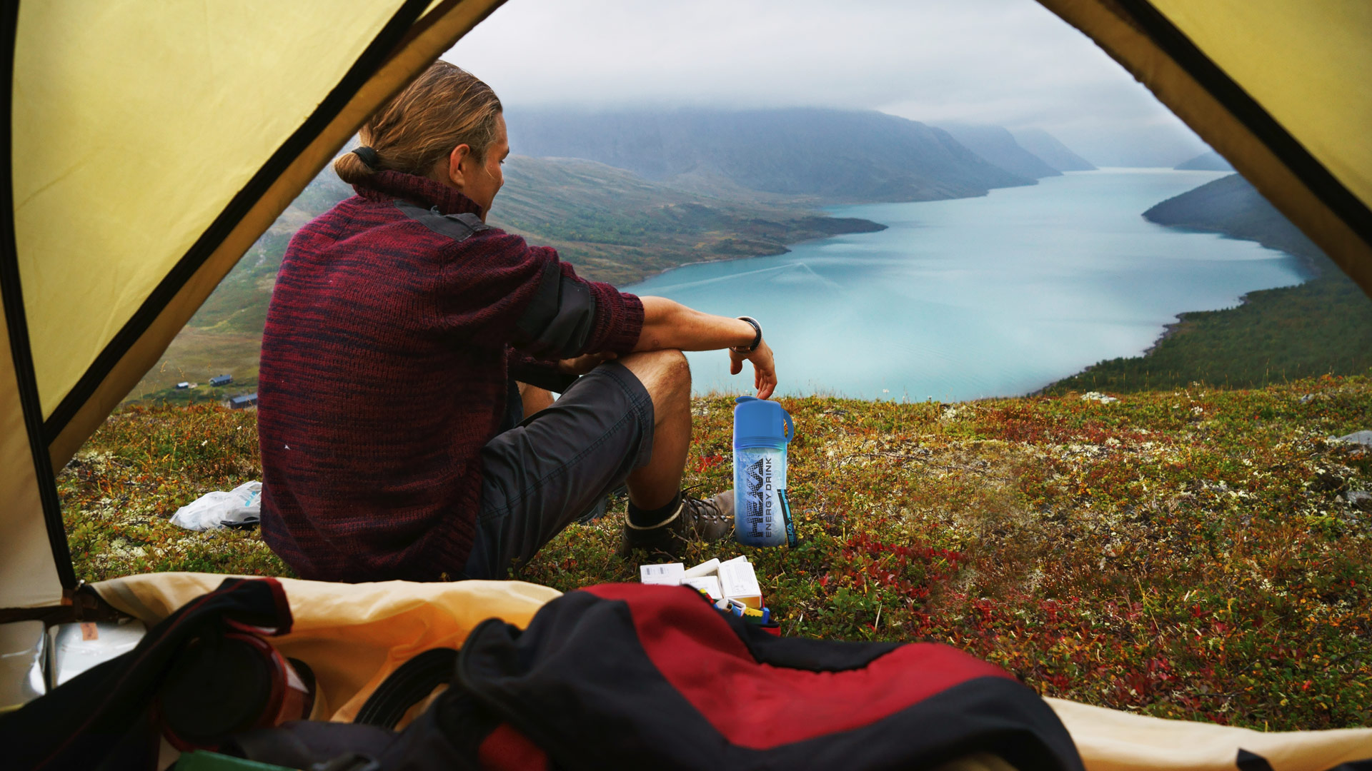 camping with heka energy drink