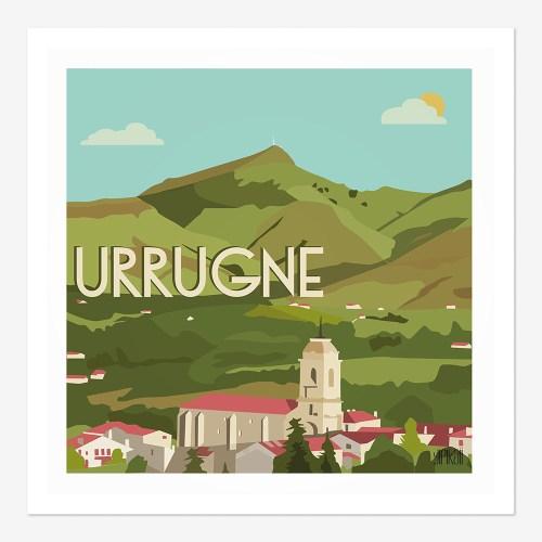 Affiche le village Urrugne devant la Rhune au Pays-Basque