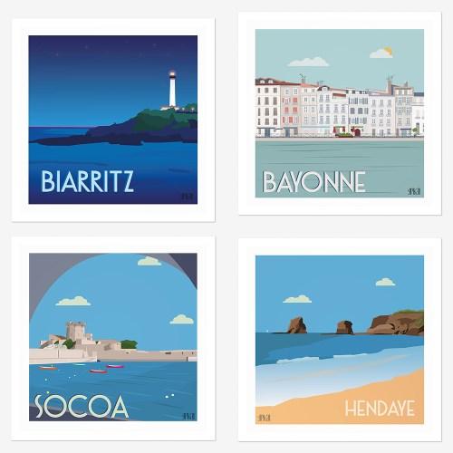 Assortiment de 4 affiches côte basque Biarritz, Bayonne, Socoa, Hendaye