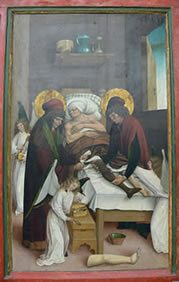 Legendary transplantation of a leg by Saints Cosmas and Damian, assisted by angels