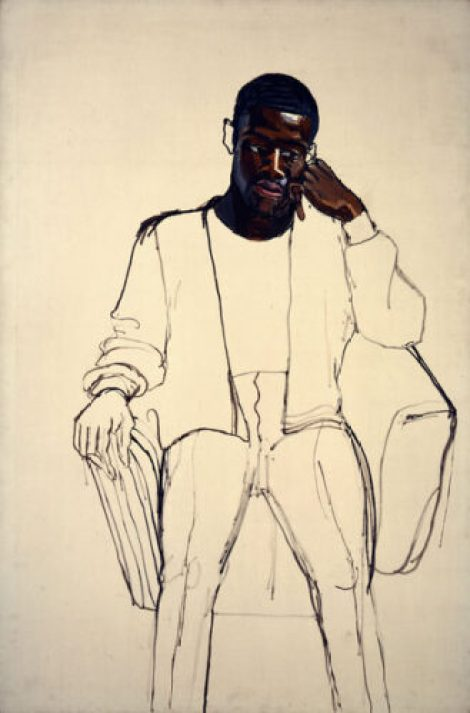 Alice Neel started work on James Hunter Black Draftee in 1965, but Mr. Hunter never came back for a second sitting. © The Estate of Alice Neel/Courtesy of The Met Breuer Museum