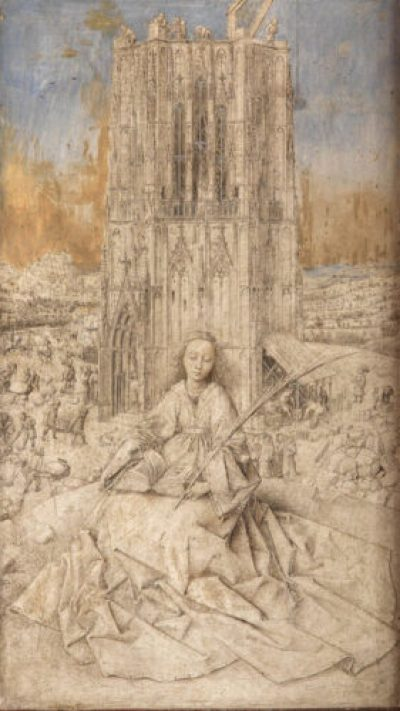 Jan van Eyck's Saint Barbara, painted in 1437, is mostly unfinished, and yet still a masterpiece. Hugo Maertens/Courtesy of The Met Breuer Museum