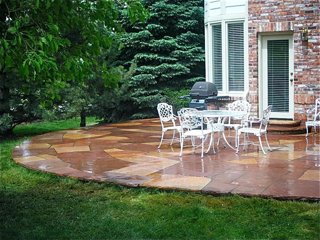 Backyard Stone Patio Pavers Ideas Flagstone Patio ... on White Patio Ideas id=87116