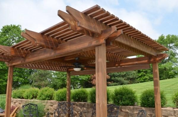outdoor pergola gazebo patio ideas Outdoor Patio Wooden Brown Pergola Design In Patio