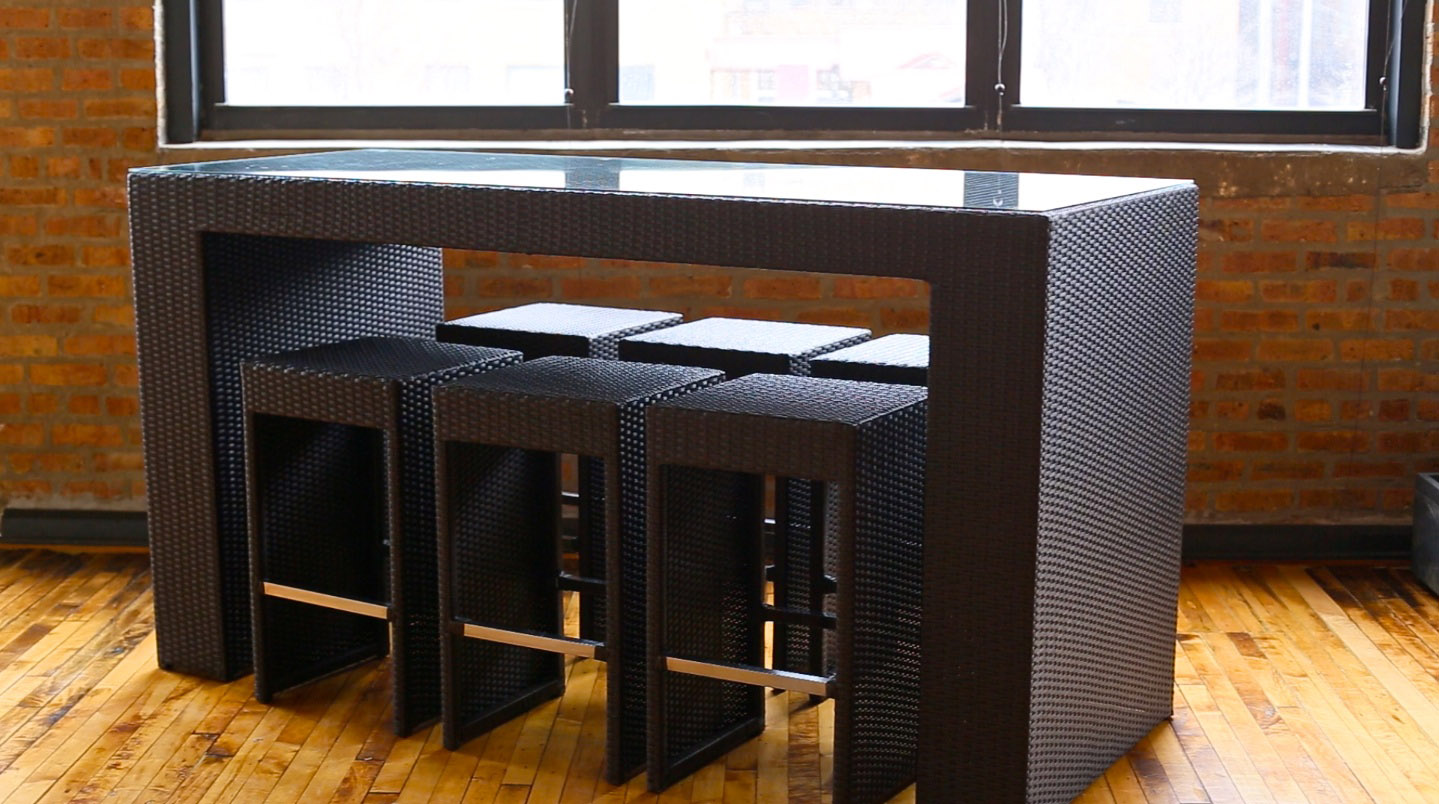 clear tempered glass top bar chairs