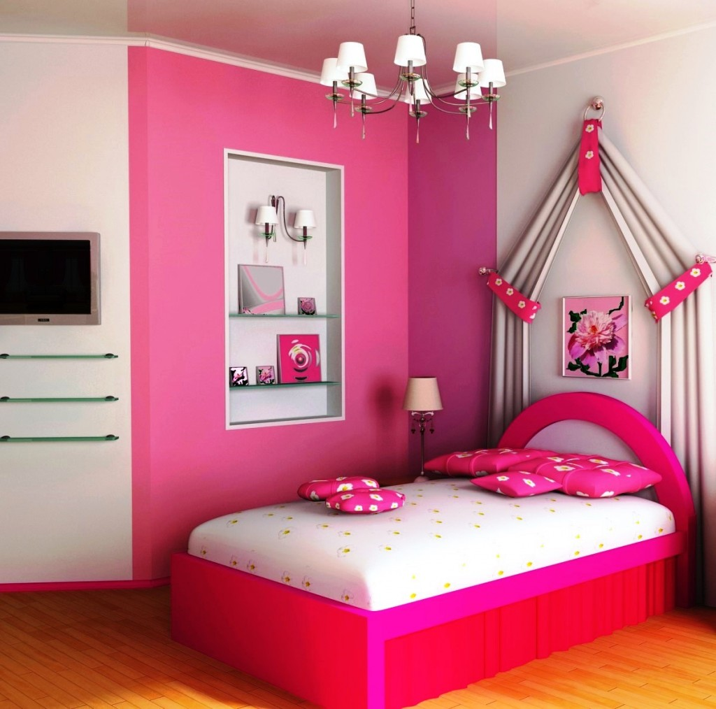 Girls Bedroom Heavenly Pink Bed Design On Teenage Girl ... on Pretty Room Decor For Girl  id=89740