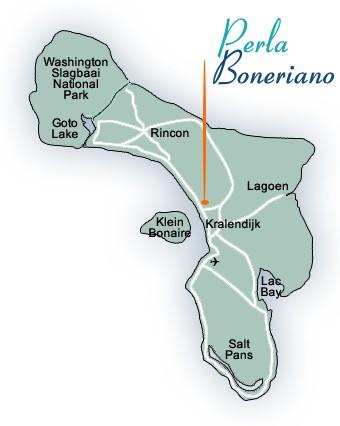 Bonaire Map, Villa Kokolishi, Perla Boneriano