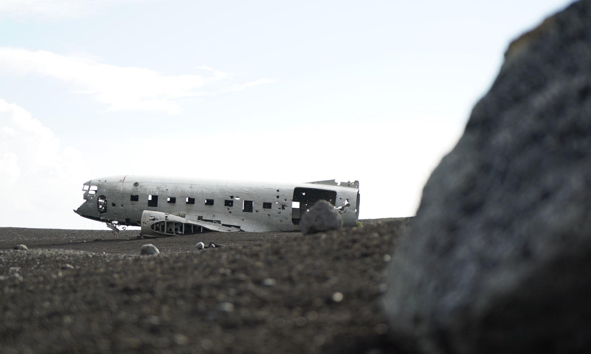 Aircraft fuselage on black sands Iceland