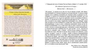 Prix et Traduction Mention du Philosophe Critique d'art V. Curzi