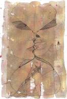 """El Beso"" - ""Le Baiser"", 2009, ink on hand made paper, 30x22cm"