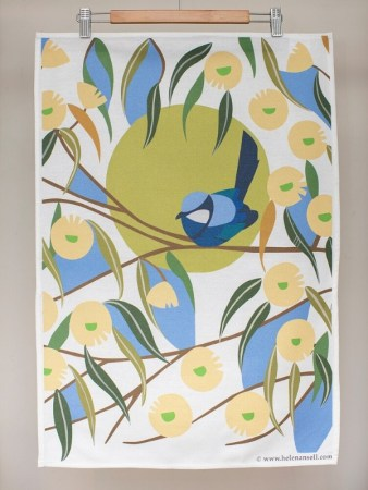 Blue Wren among the Marri Blooms tea towel