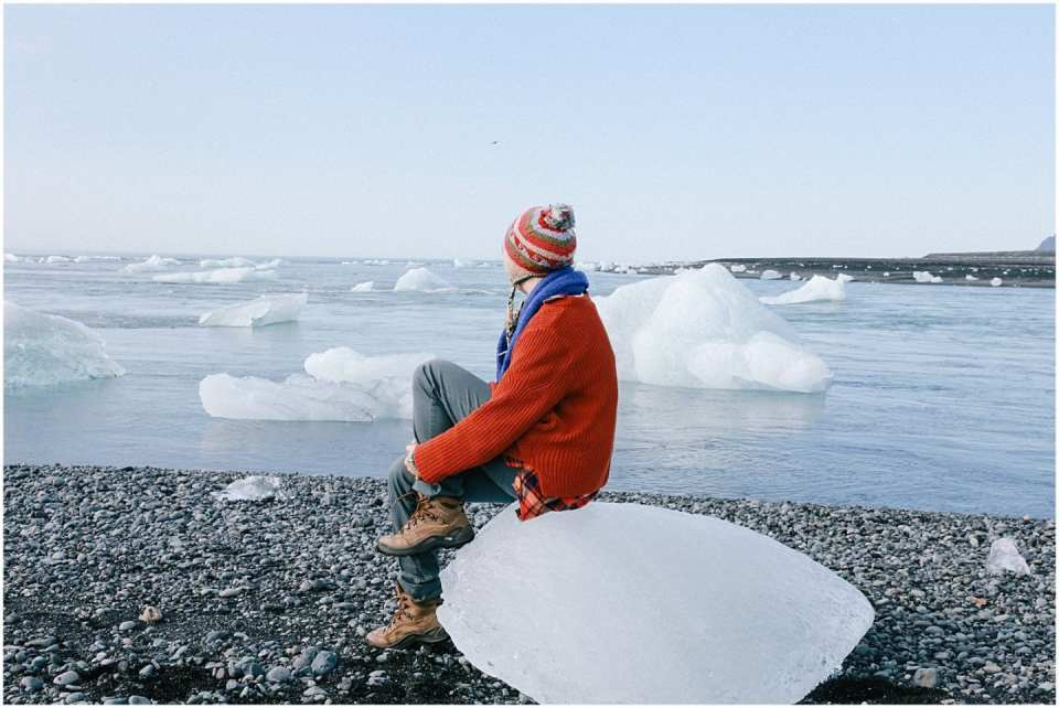 girl in Iceland glaciers taking a technology free vacation
