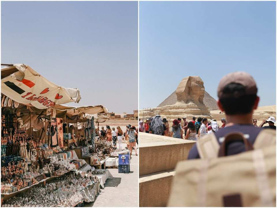 market stalls at Pyramids of Giza Sphinx in Egypt