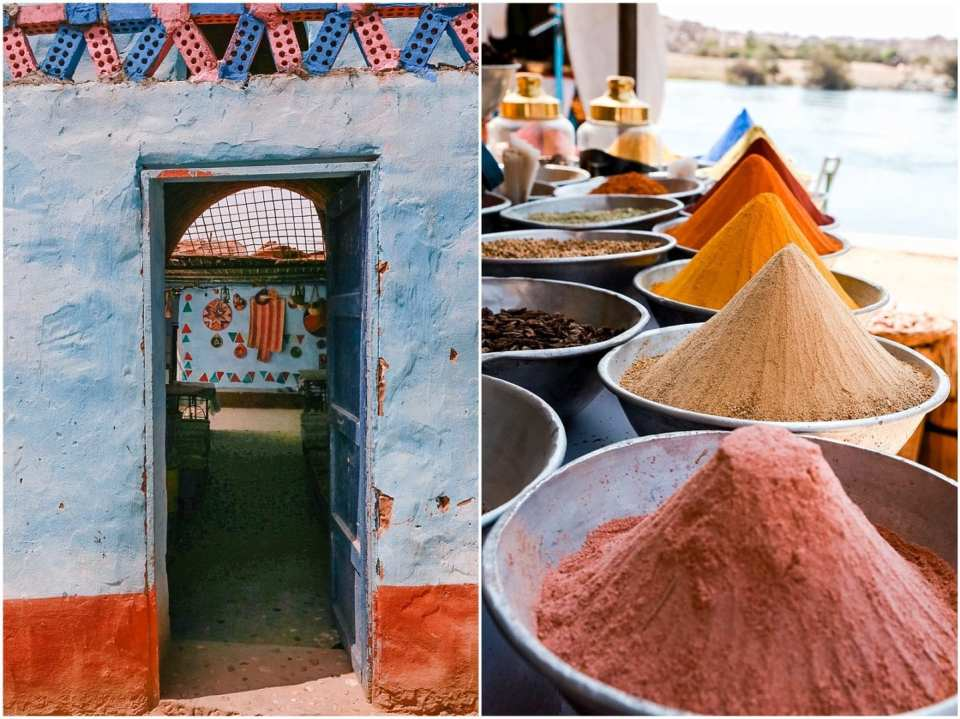 Colorful spices and doorways in at Nubian village in Aswan Egypt