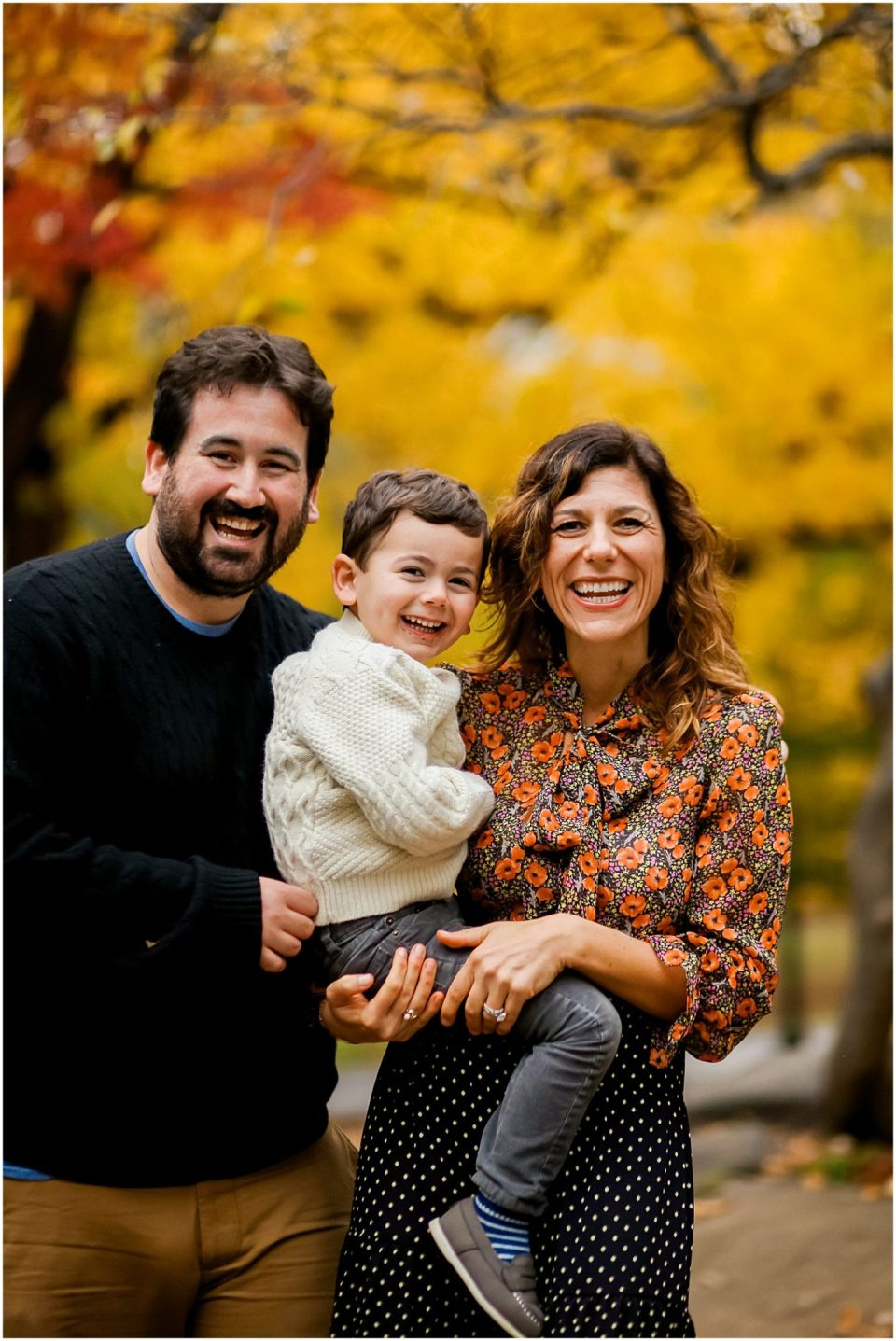 family photos in the Fall with Fairfield CT family photographer Helena Woods