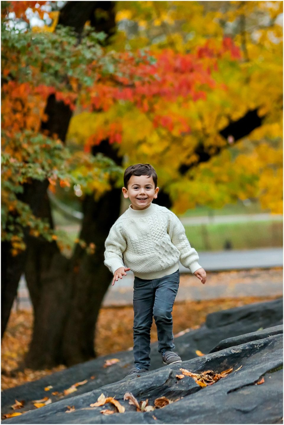 fall leaves in the park with Fairfield CT family photographer Helena Woods