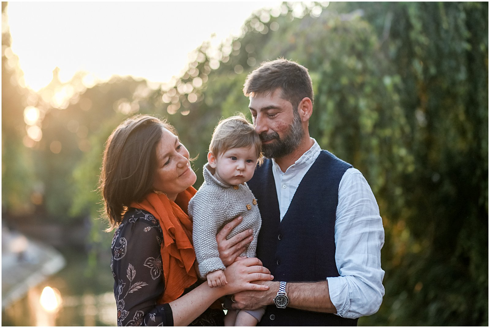 Best Time of Day For Outdoor Family Portraits baby in golden hour backlight with Connecticut photographer