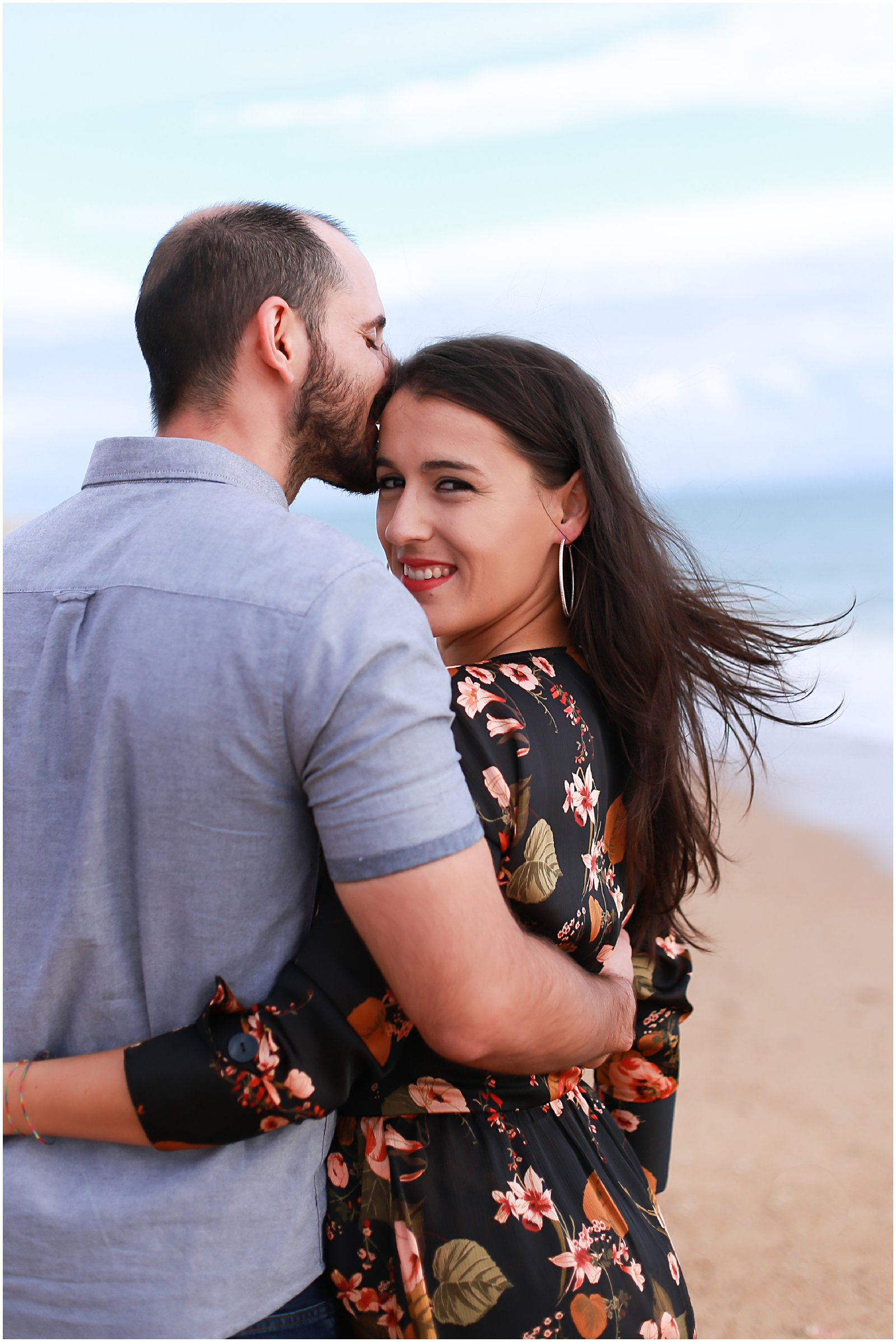 woman smiling engagement session in Portugal