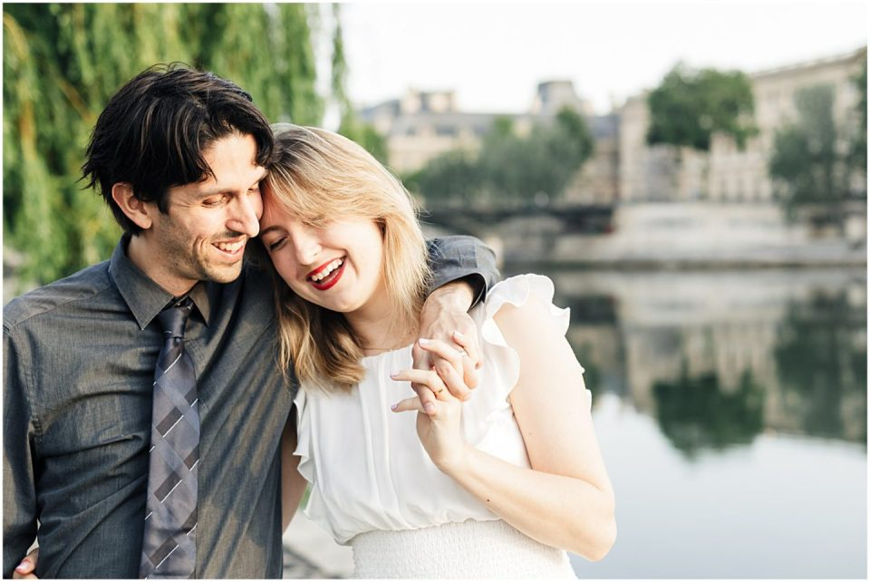 Pont Neuf Sunrise Romantic Couples Session in Paris France