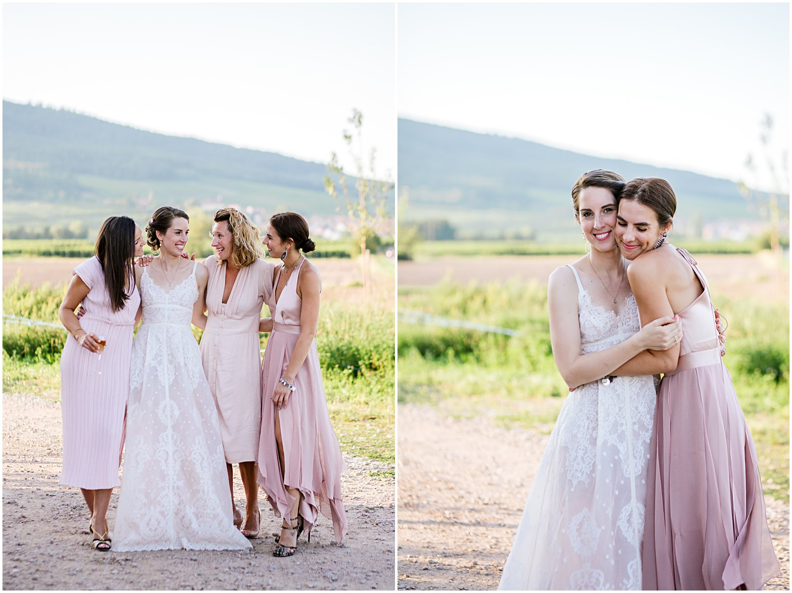 bride and bridesmaids photographed at Achilles Domaine winery in Alsace France photographed by Helena Woods