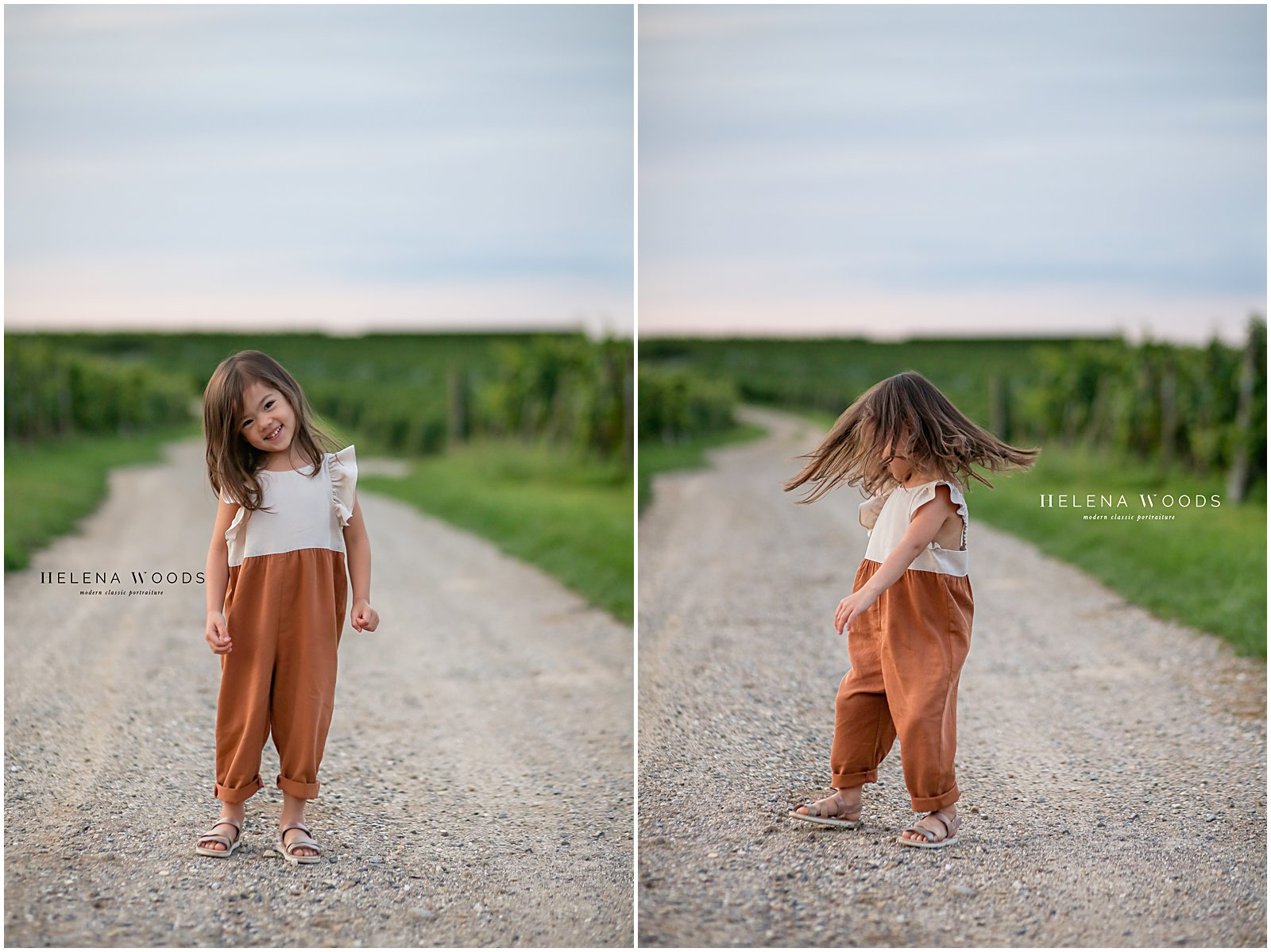 Girl twirling for portrait with kids photographer Helena Woods