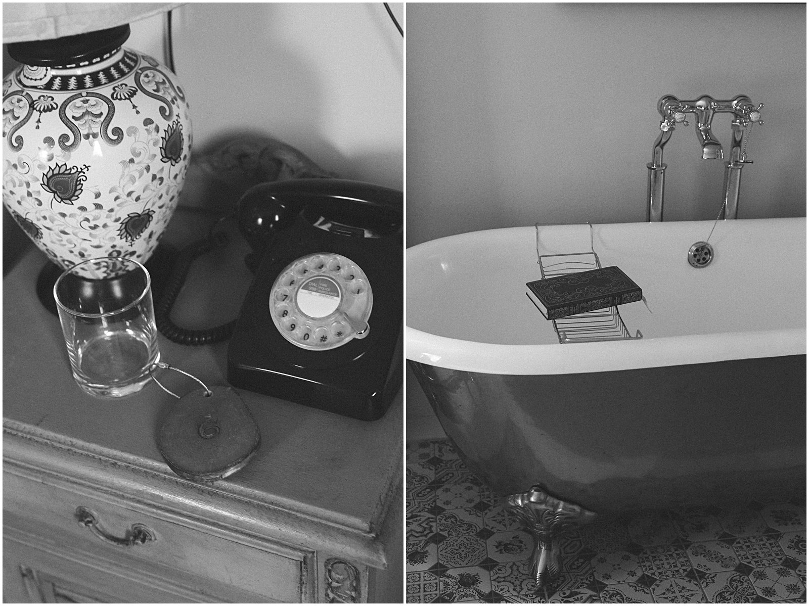 old fashioned bathtub and phone at hotel